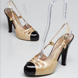 Chanel Glitter Slingback Pumps Yellow/Black 36